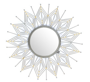 mirror wall home décor mounted wall-mounted round large silver framed big hallway decorative accent hanging hall centerpiece shabby chic boho bed tin iron metal chrome rustic living room modern bathroom