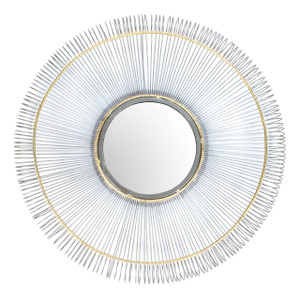 mirror wall home décor mounted wall-mounted round large silver nickel gold framed big hallway decorative accent hanging hall centerpiece shabby chic boho bed tin iron metal chrome rustic living room modern bathroom