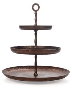 cake stand serving tray platter display 3 three tier 3-tier three-tier levels large copper wedding metal holder tea big tall table fancy cupcake decorative party antique round hors d'oeuvres appetizers serveware serve cheese dessert cookie