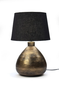 Red Fig Home Table Lamp – Textured Aluminum Stand with Brass Antique Finish & Black Fabric Lampshade – Light for Desk, Bedside, Living Room