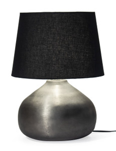 Red Fig Home Table Lamp – Textured Aluminum Stand with Pewter Finish & Black Fabric Lampshade – Light for Desk, Bedside, Living Room