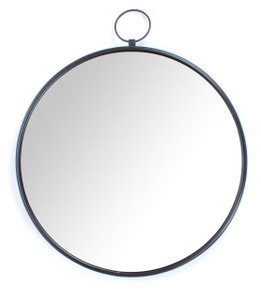mirror wall home décor mounted wall-mounted round large black framed big hallway decorative accent hanging hall centerpiece shabby chic boho bed tin iron metal chrome rustic living room modern bathroom
