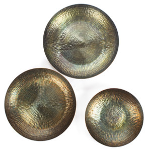 wall art sculpture 3d accent home décor metal large small medium decorative trays set of 3 three pieces accessories matching coffee table patina pencil line contemporary bohemian unique modern boho vintage bedroom zen kitchen hang hanging living room tin cute rustic