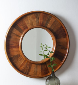 mirror wall home décor mounted wall-mounted round large wood wooden framed big hallway decorative accent hanging hall centerpiece shabby chic boho bed rustic living room modern bathroom