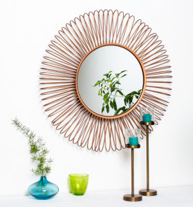mirror wall home décor mounted wall-mounted round large copper gold framed big hallway decorative accent hanging hall centerpiece shabby chic boho bed tin iron metal chrome rustic living room modern bathroom