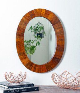 mirror wall home décor mounted wall-mounted oval round large wood wooden framed big hallway decorative accent hanging hall centerpiece shabby chic boho bed rustic living room modern bathroom