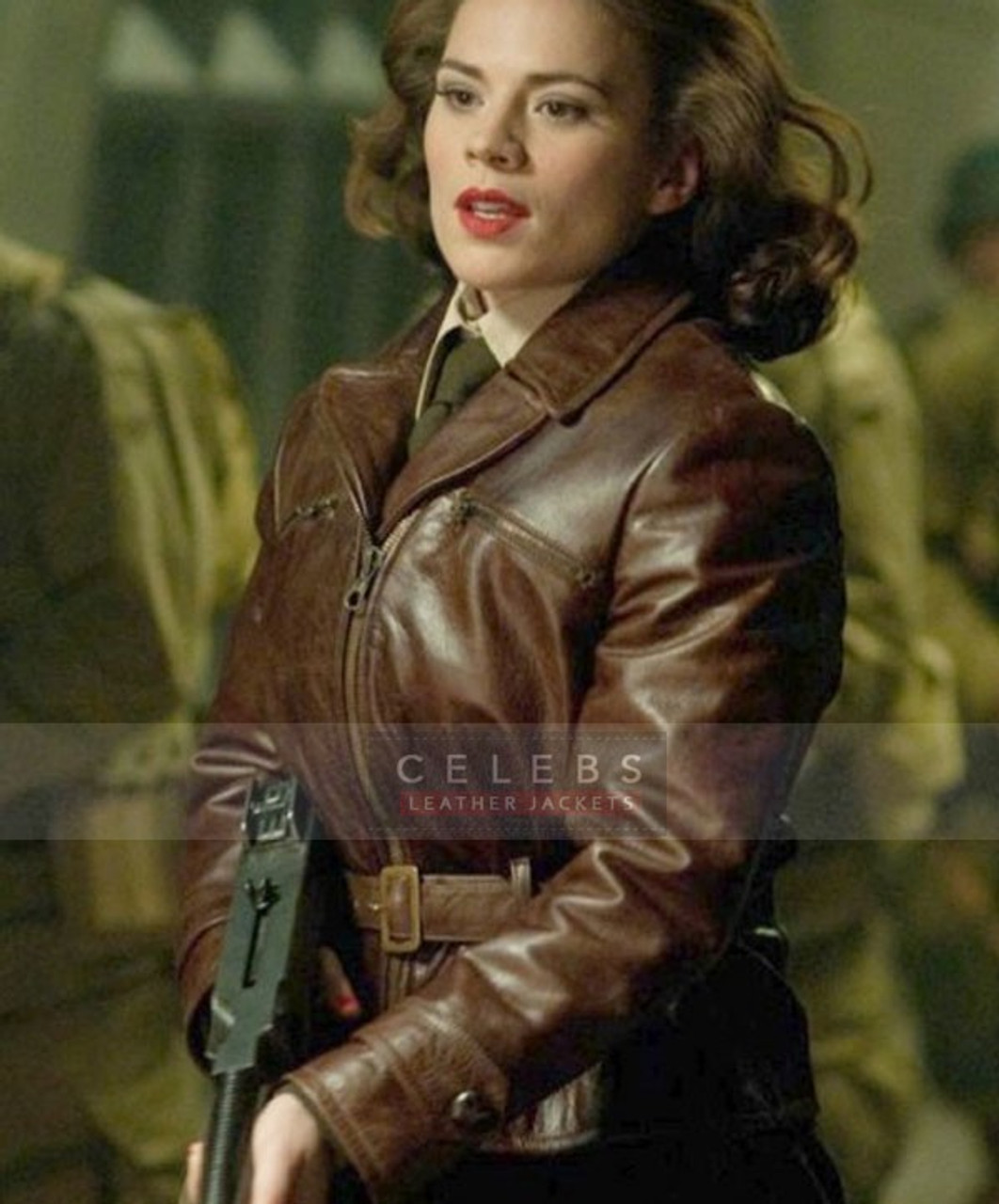 Captain America First Avenger Hayley Atwell Peggy Carter Brown Jacket
