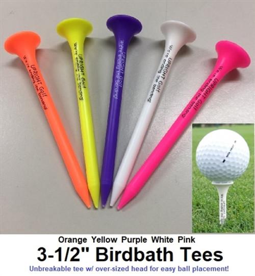 "Birdbath Tees 3-1/2"" - Bulk poly bag w/ (200) tees - Mixed Colors"