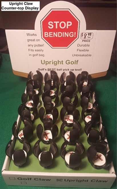 Upright Claw - Counter-top Display (w/ 25-pk) Golf Ball Pickup Tool for Putter Grip