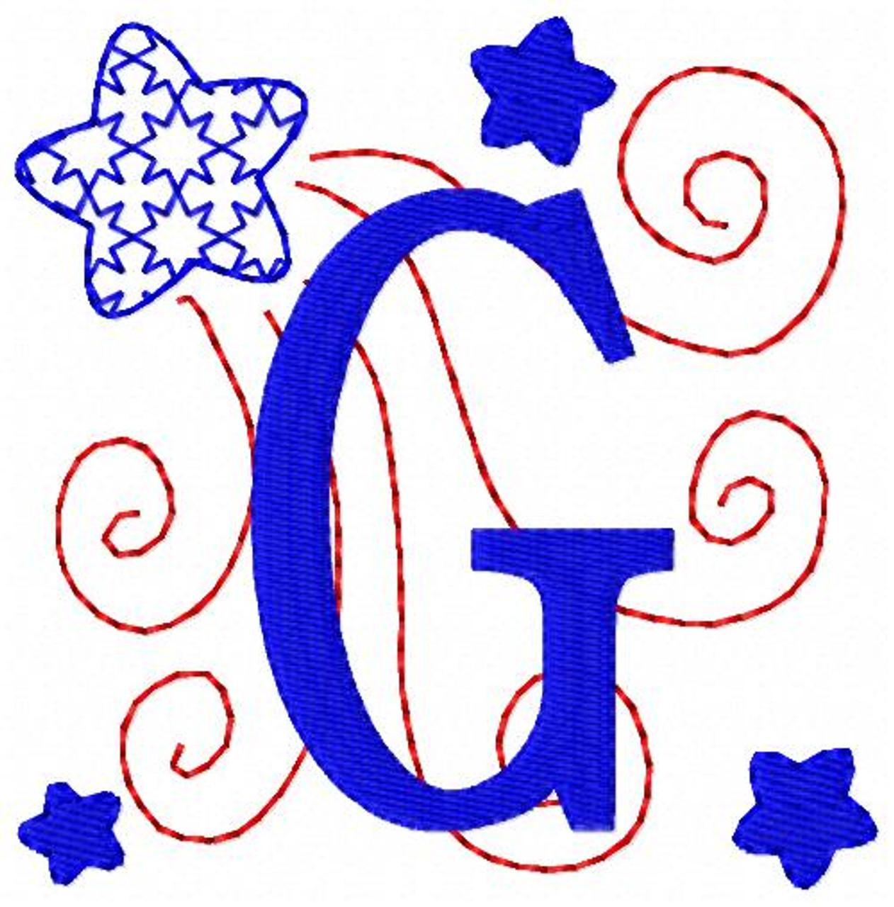 Patriotic Star Monogram Set Joyful Stitches