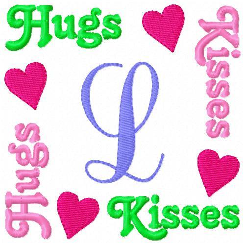 Hugs & Kisses Valentine Monogram Set