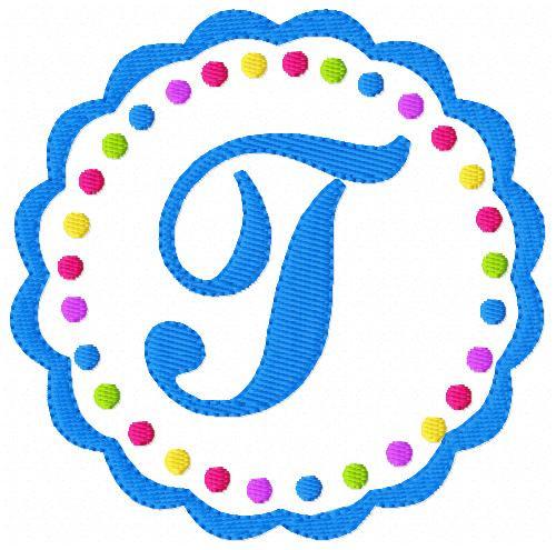 Scallop Circle Dot Girly Monogram Embroidery Font Design Set