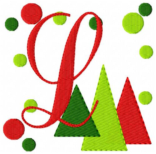Christmas Three Trees Monogram Set