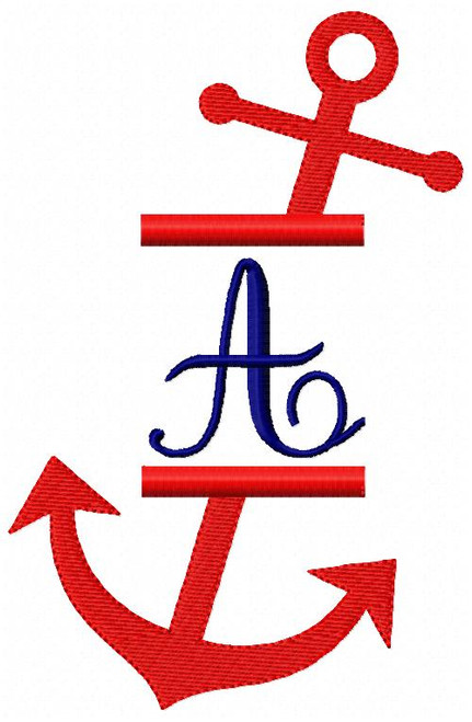 Anchor 5x7 Split Monogram Embroidery Font Design Set