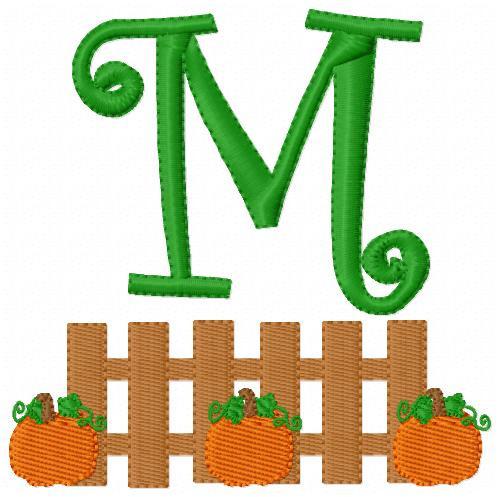 Fall Harvest Pumpkin Fence Monogram Set