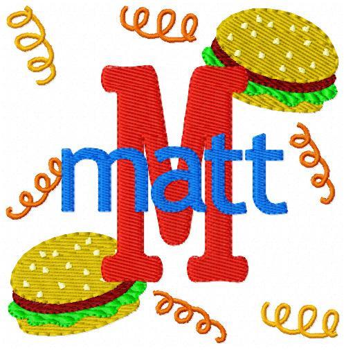 Hamburger & Fries Picnic Monogram Set