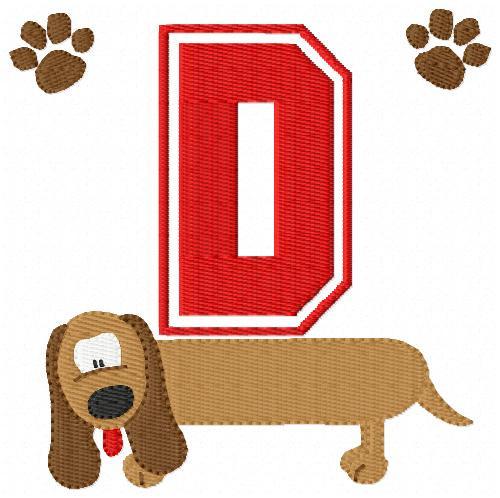 Daschund Long Dog Monogram Font Set