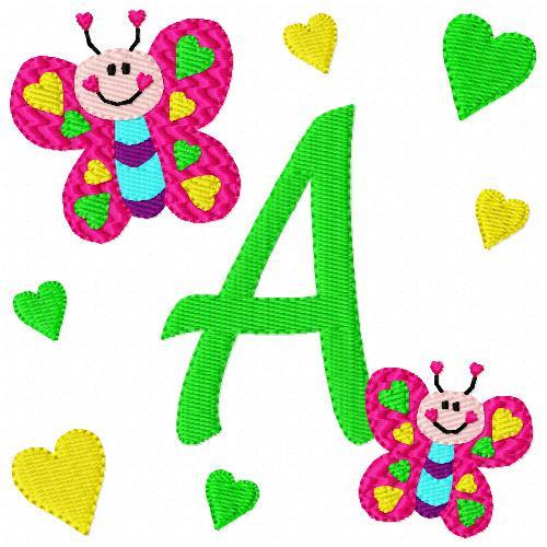 Butterfly Hearts Monogram Font Set