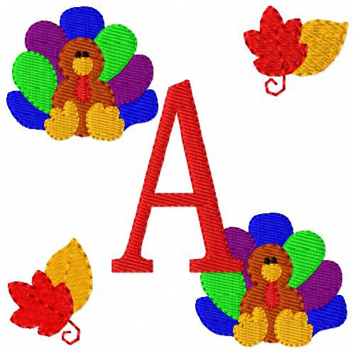 Thanksgiving Turkey Monogram Font Set