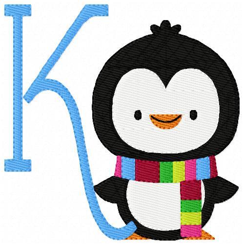 Cheerful Penguin Monogram Set