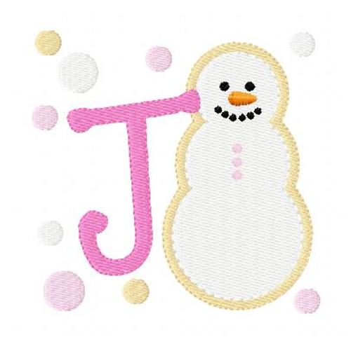 Snowman Christmas Winter Cookie Monogram Set