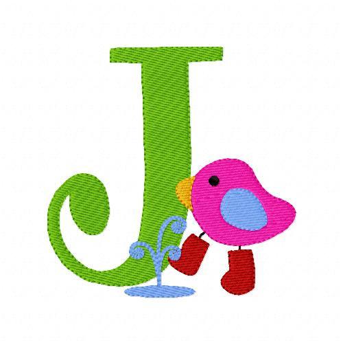 Rainy Day Puddle Splash Birdie Monogram Set