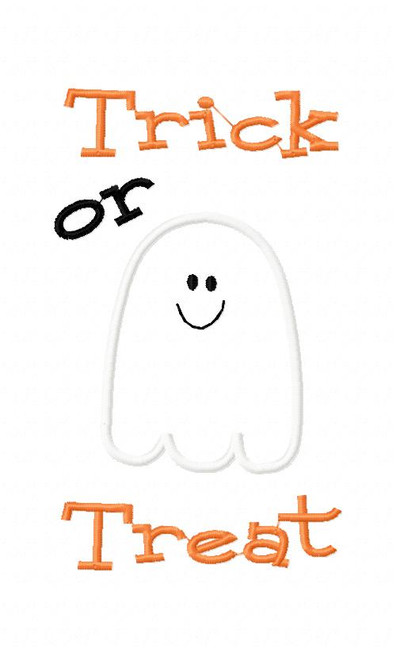 Trick or Treat Ghost 5x7 Applique