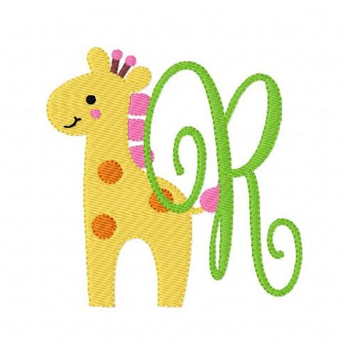Giraffe Zoo Pinkie Monogram Set