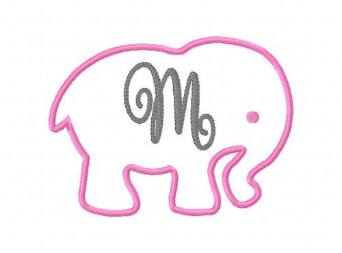 Elephant Applique 5x7 Monogram Set