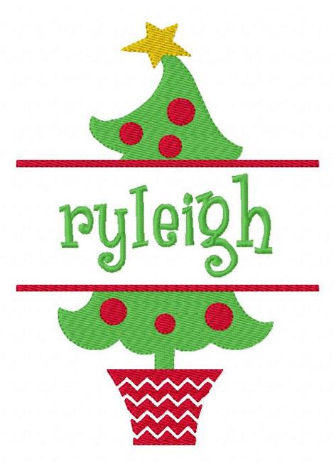 Christmas Tree 5x7 Split Machine Embroidery Monogram Font Set