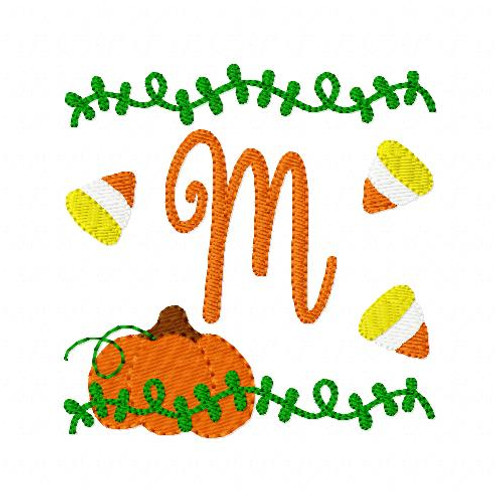 Pumpkin Patch Fun Monogram Embroidery Font Design Set