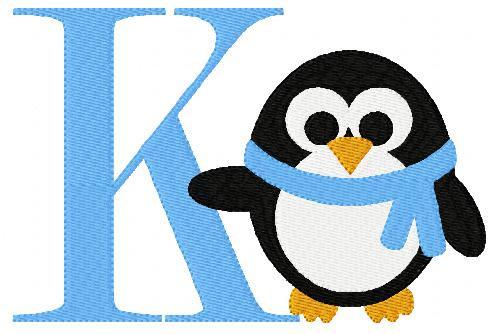 Penguin Winter Monogram Font Design 5x7