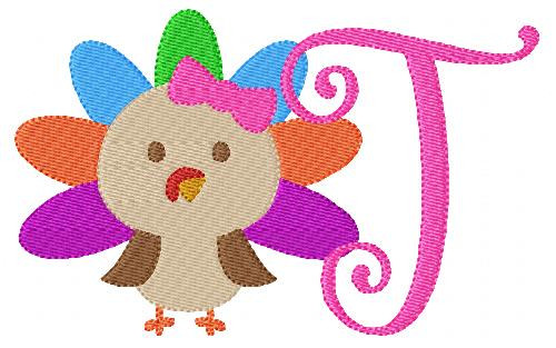 Little Miss Turkey 5x7 Thanksgiving Monogram Set