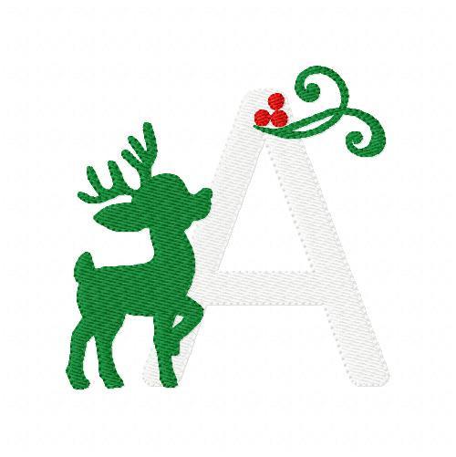 Snowy Reindeer Christmas Monogram  Set