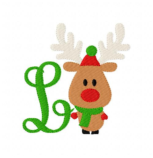 Reindeer Christmas Joy Monogram Set
