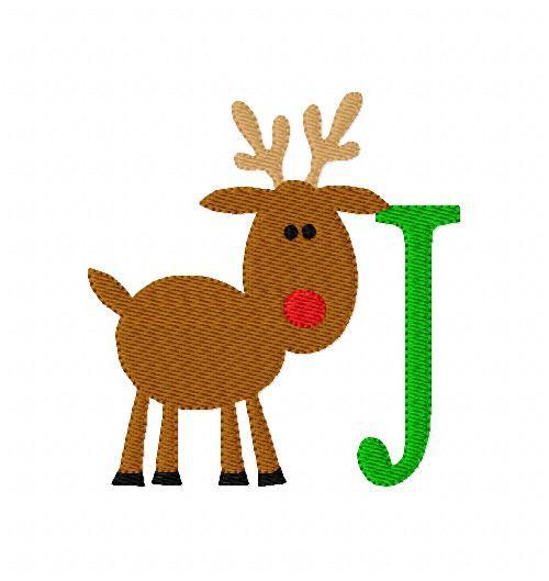 Reindeer Christmas Monogram Design Set