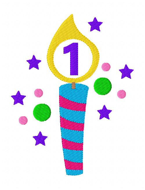 Birthday Candle Colorful Stars Dots