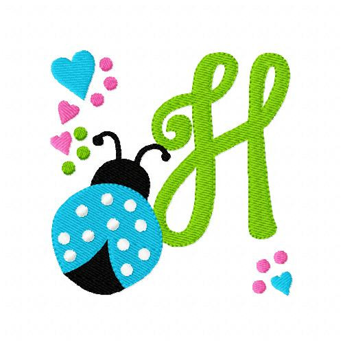 Ladybug with Hearts and Dots Monogram Embroidery Set
