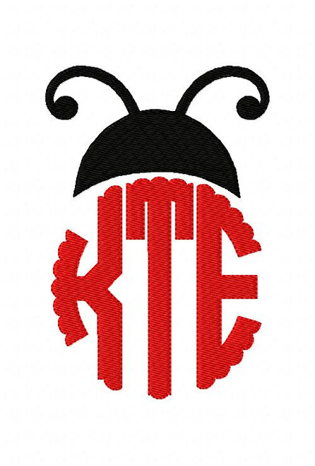Ladybug Circle Scallop Monogram Set