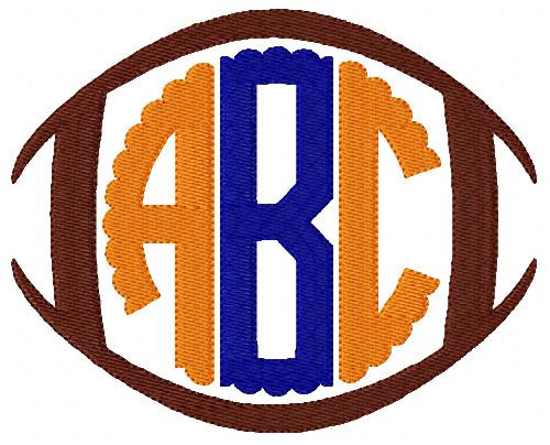 Football Circle Scallop Monogram Set