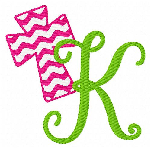 Cross with Chevron Pattern Monogram Set