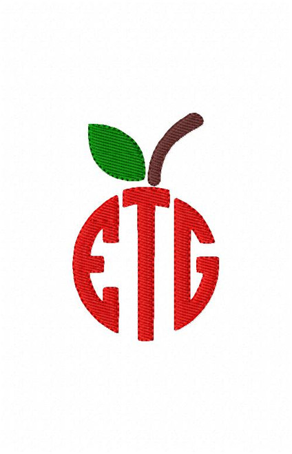 Apple for the Teacher 3 Three Letter Circle Monogram Set
