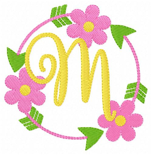 Daisy Circle Monogram Embroidery Set