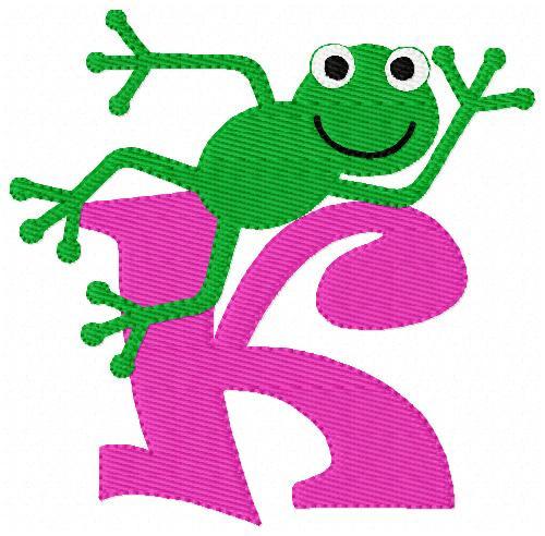 Frog Monogram Embroidery Design Set