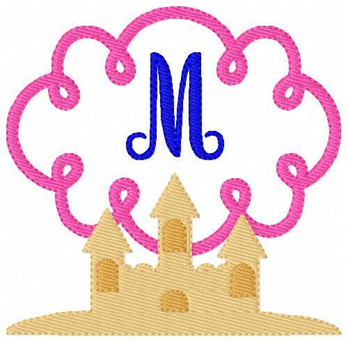 Sand Castle Summer Swirl Monogram Embroidery Design Set