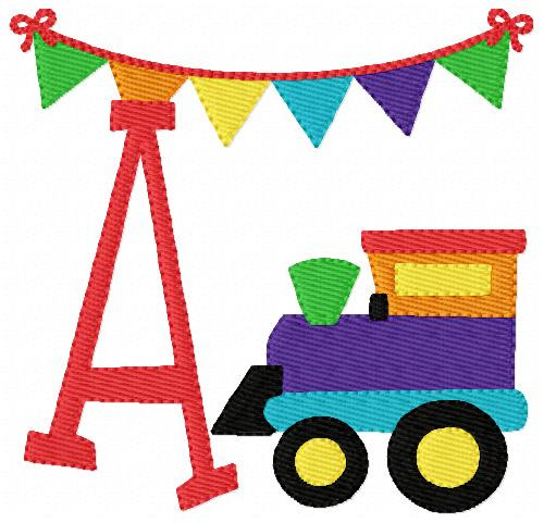 Train Birthday Monogram Embroidery Design Set