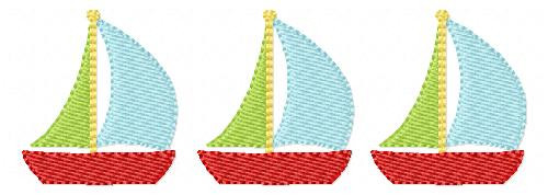 Sailboat Trio Embroidery Design - 3 sizes included