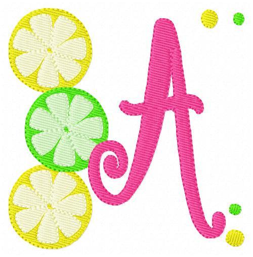 Lemon Lime Lemonade Summer Monogram Embroidery Design Set