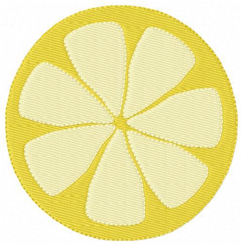 Lemon Slice Embroidery Design 2 Sizes