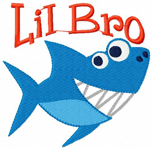Shark Lil Little Bro Brother Embroidery Design